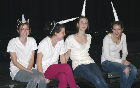 Students dressed as unicorns win best group.