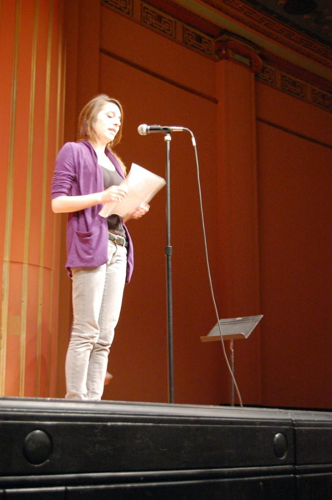 CHS+senior+and+member+of+the+2009+Ann+Arbor+Youth+Poetry+Slam+Team+Glenna+Benitez+reads+a+new+poem.