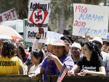 Protesters show their hatred towards Arizona's immigration law.