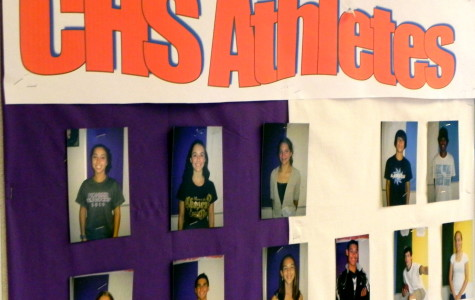 The board outside of Bodley Hall displays the athletes at CHS and members of CHAT.