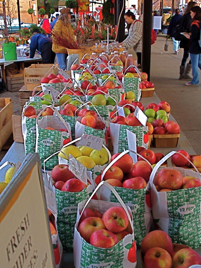 Wasems Orchard displays apples, their primary product, at the the Ann Arbor Farmers Market.