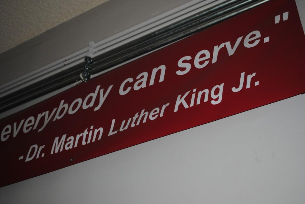 A+famous+quotation+from+Martin+Luther+King+Jr.+hangs+from+a+banner+on+the+third+floor+of+Community.