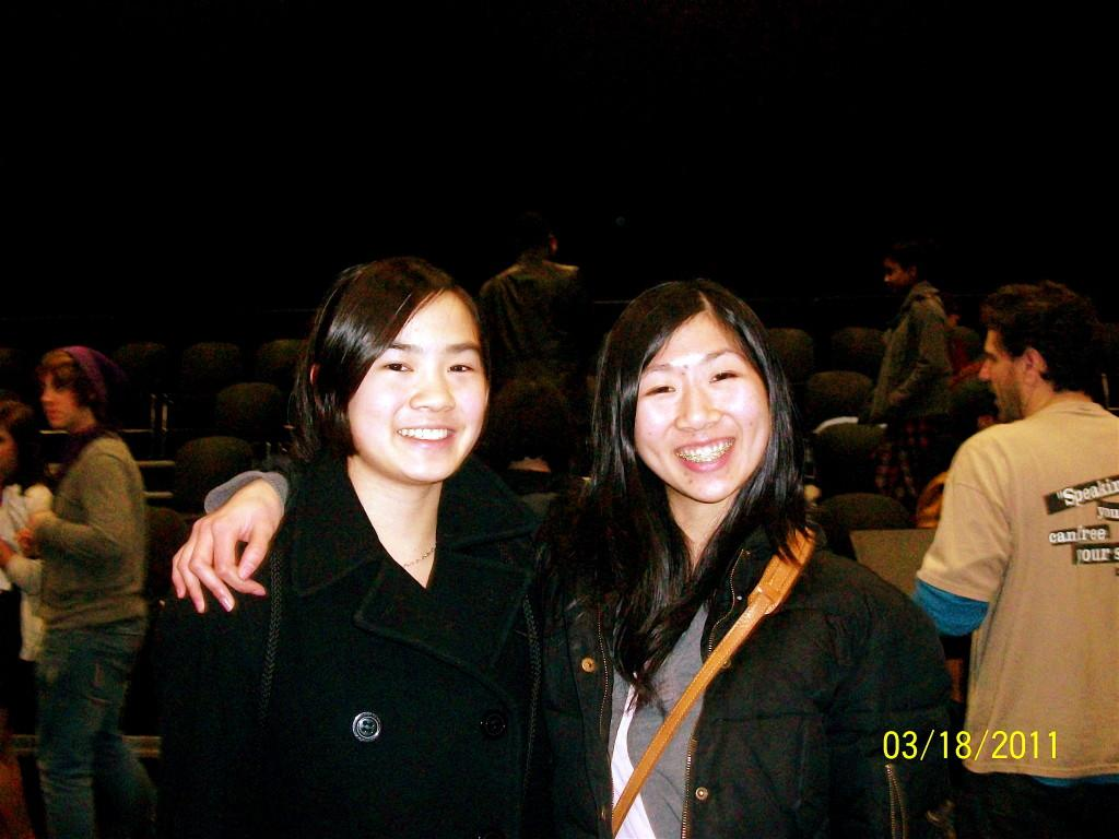 Skyline students Edith and Sherry at their poetry slam.