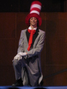The Cat in the Hat poses on stage