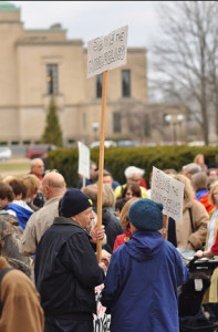 The protest focused on the budget proposed by Governor Rick Snyder, which proposes major budget cuts to public education.