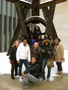 Members of Girls Group checking out the outdoor sculpture at the Ann Arbor Art Museum