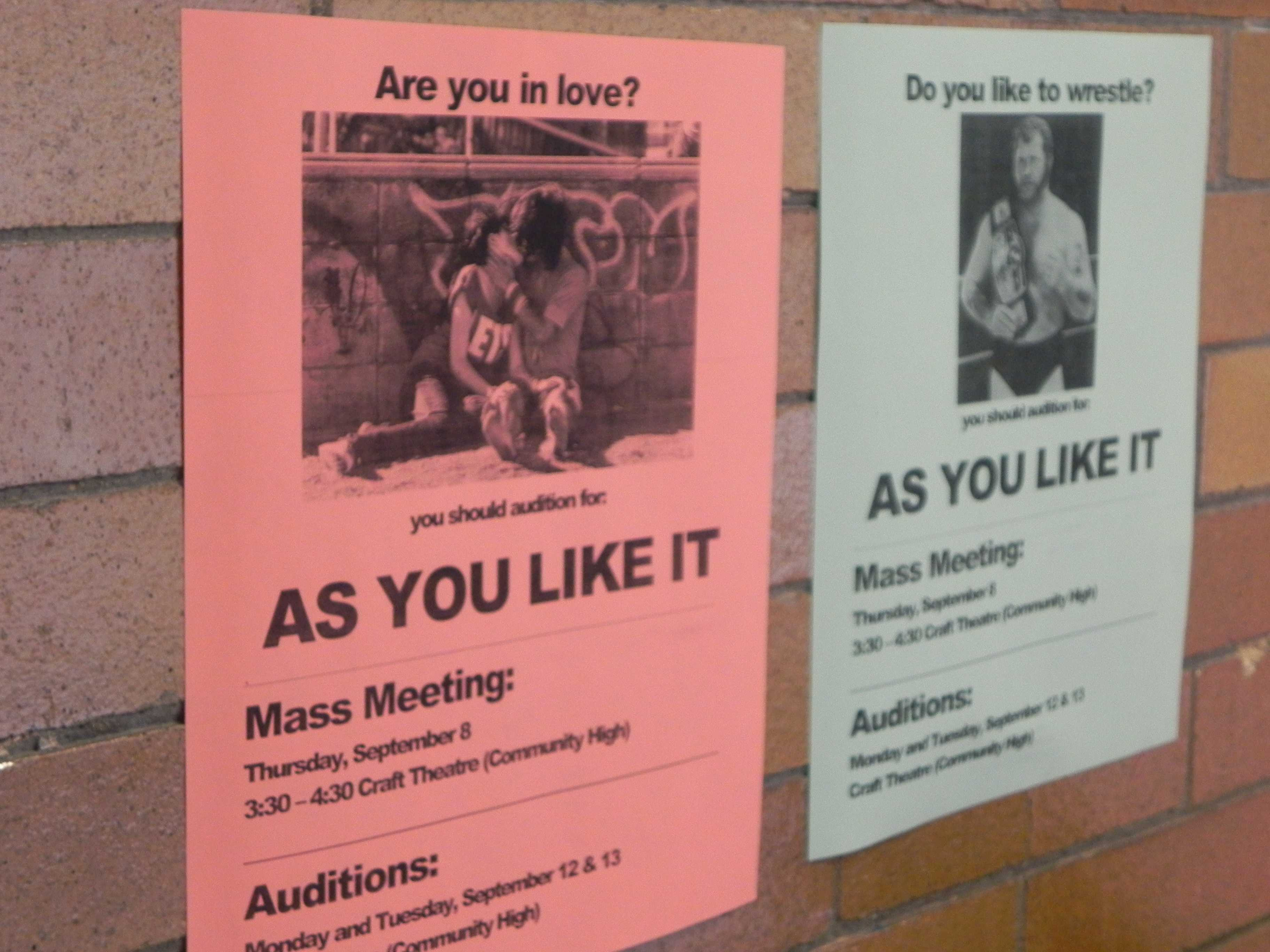 Posters for CET's Upcoming Show, As You Like It, Cover the Walls at Community