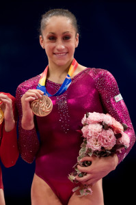 Jordyn Wieber during the awards ceremonies for the balance beam final. She won the bronze medal.