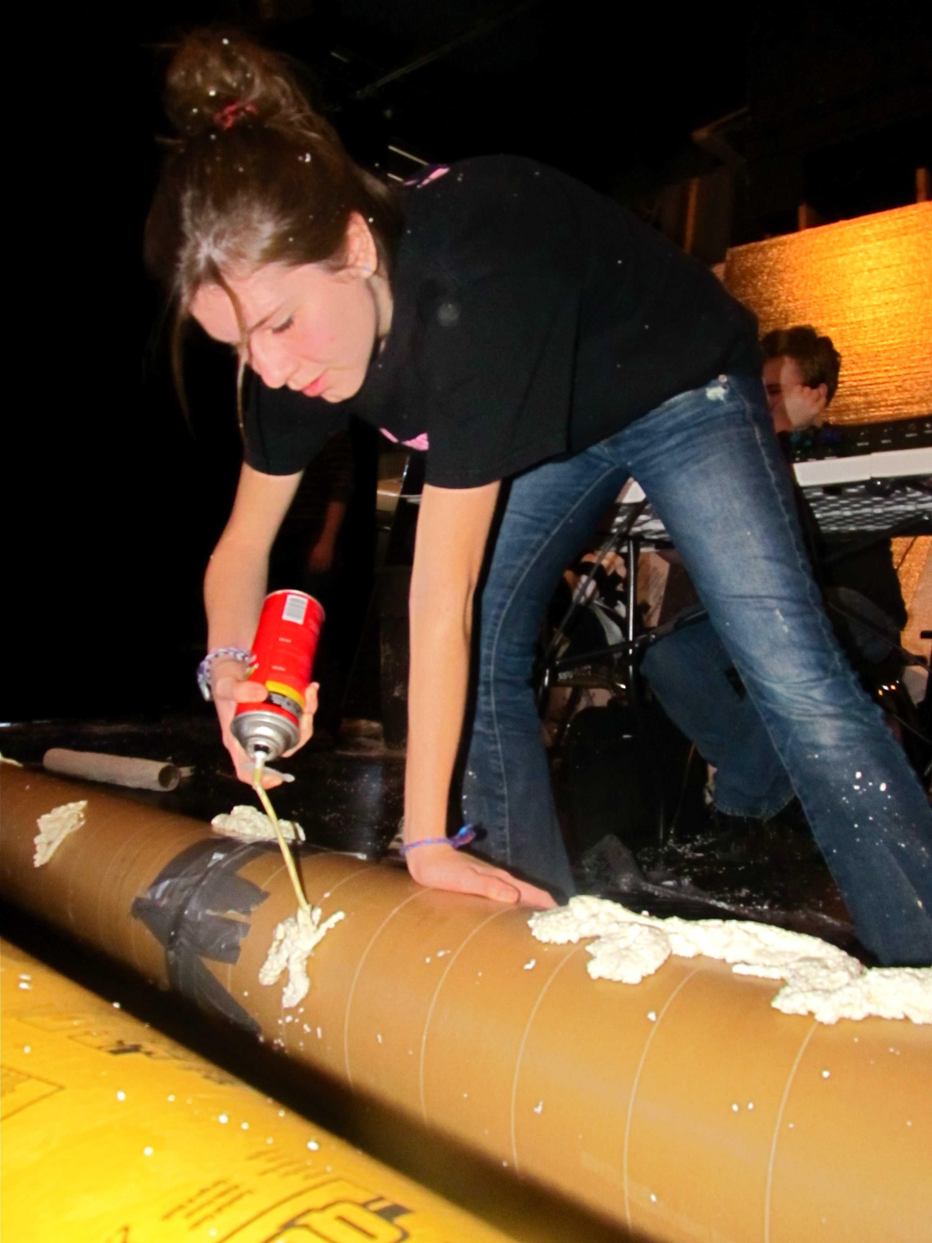 Scherdt using a heavy-duty foam to create texture for