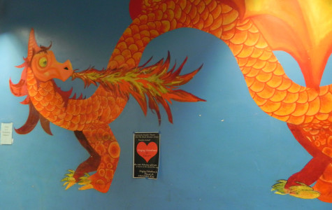 The dragon mural on the 2nd floor.