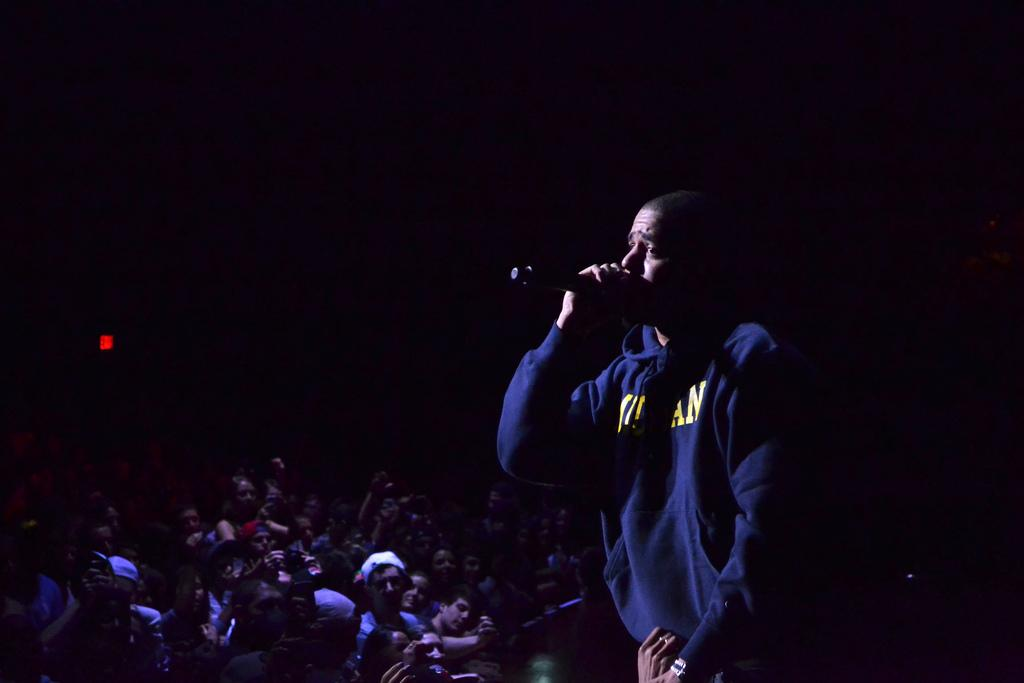 J Cole Performs in a Michigan Sweatshirt