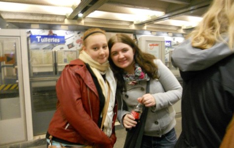 Heather Grifka and Mary Salisbury at the Tuileries metro station