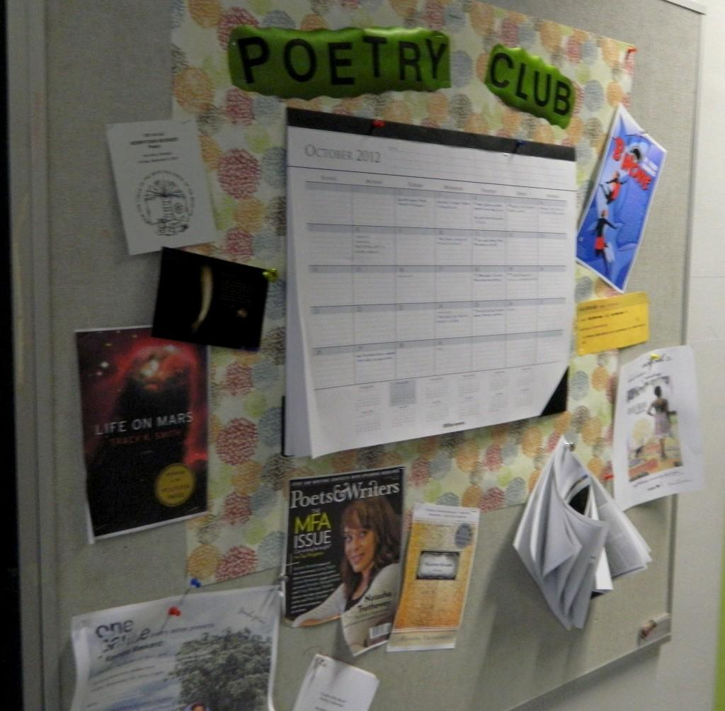 Poetry+club+bulletin+board+with+important+dates+and+flyers+of+poets+outside+of+Judith+DeWoskin%27s+room.