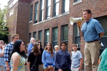 David Borneman addresses Community High School.