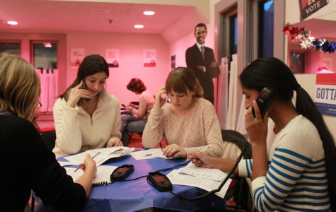 From left: Rachel Tucker, Ola Kulaga, and Azba Gurm call voters and potential Obama volunteers.