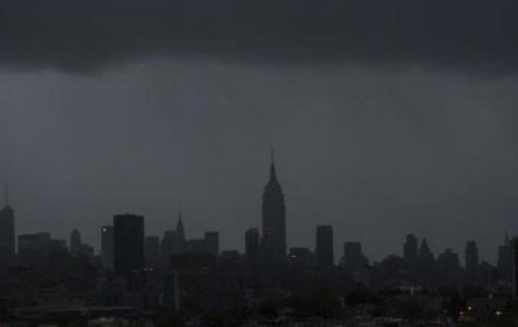 Blackouts make the NYC skyline one black mass