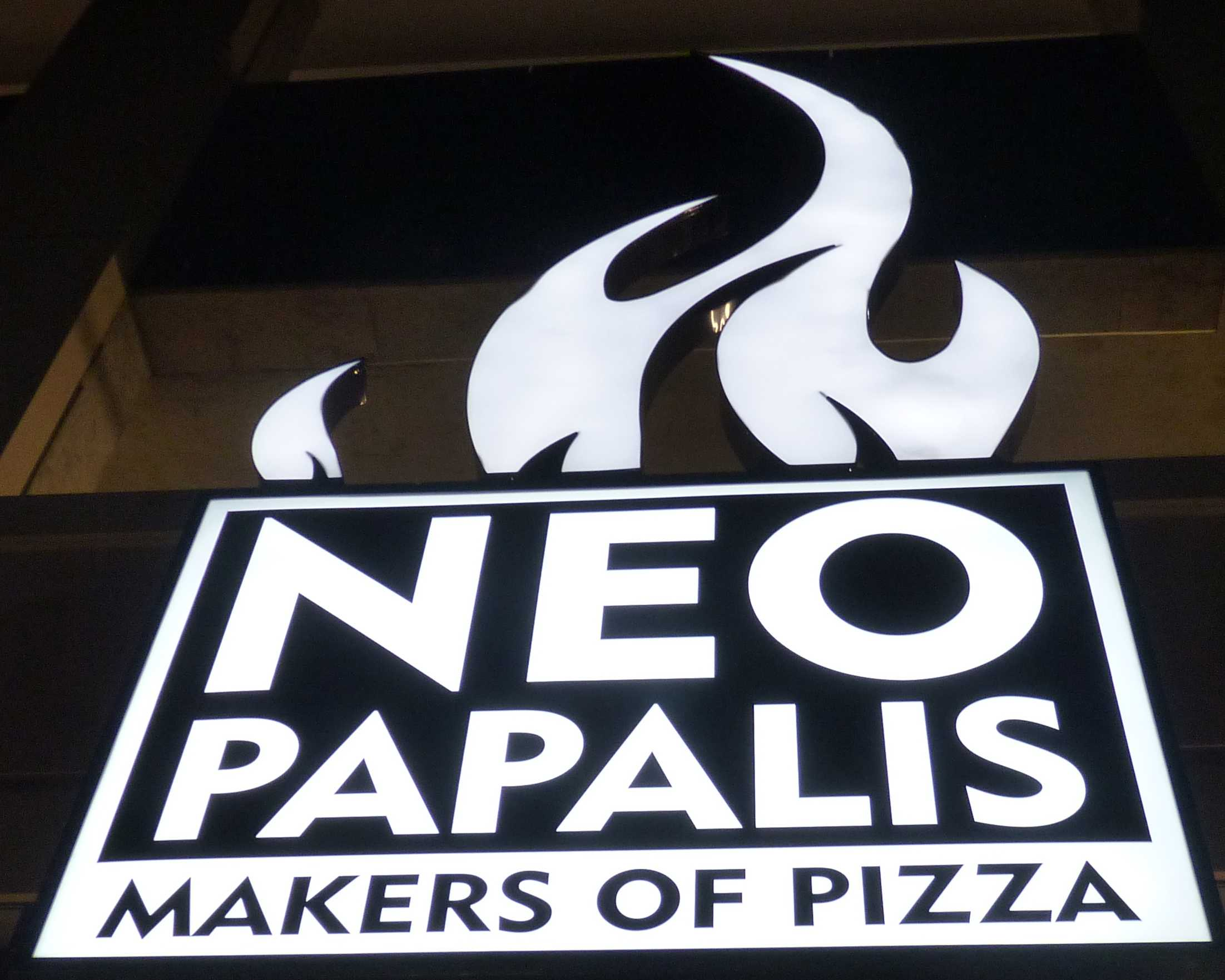 NeoPapalis sign outside of the NeoPapalis restaurant.