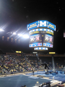 The U of M women's gymnastics meets are held at the newly renovated Crisler Center