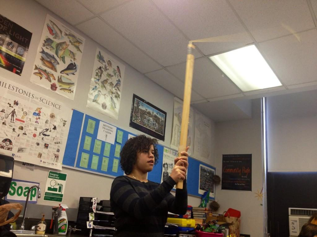 Physics Student Rianna Johnson-Levy studies circular motion with a lab on Tuesday March 19.