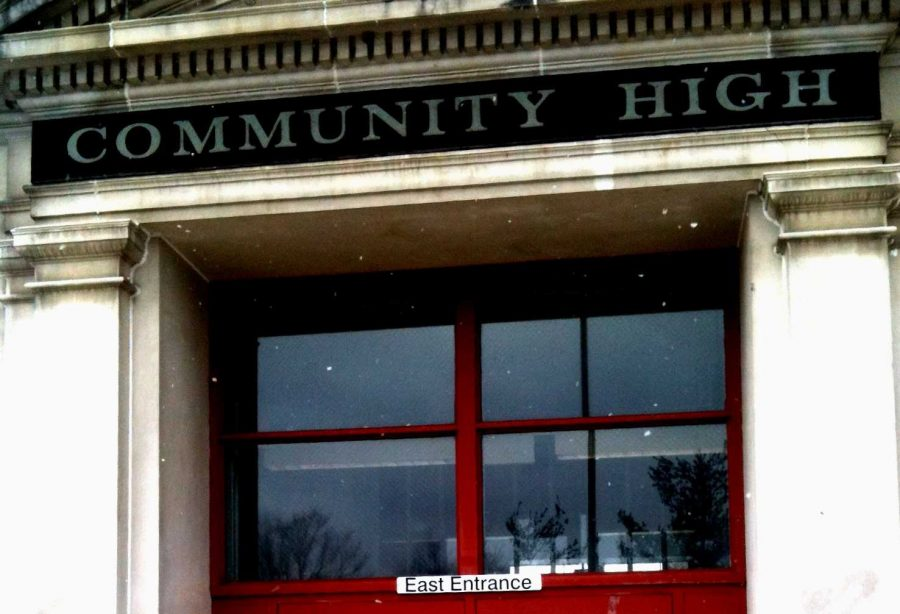 The East door at Community High School, also known as the Main Entrance, which will now be locked at all times.