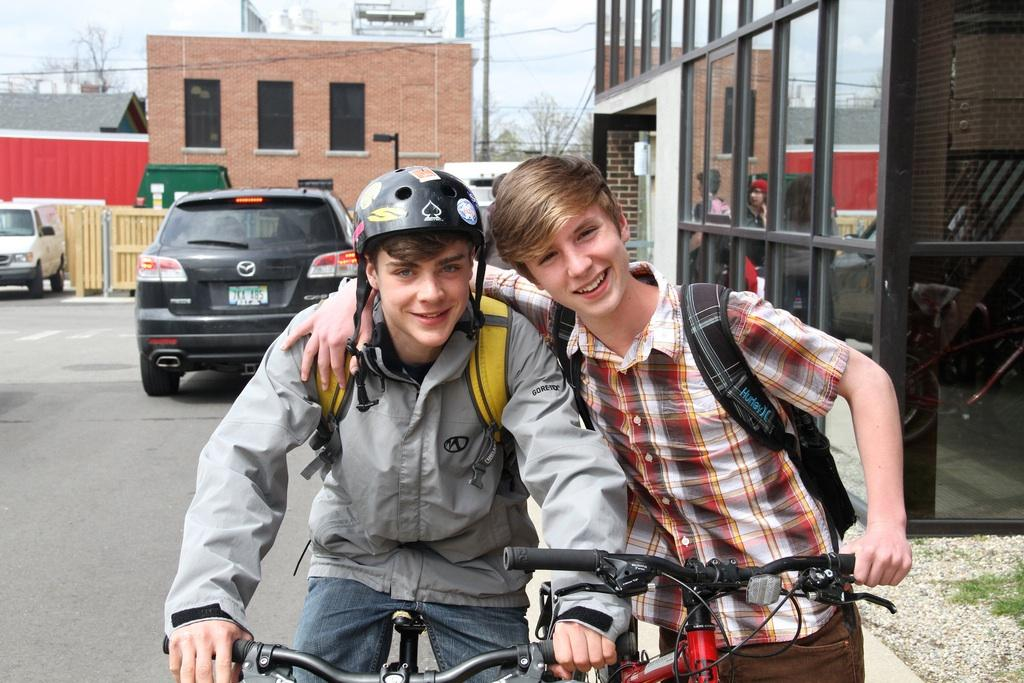 Freshman Luc Le Pottier and Gabe McGuire stop for a picture before biking home after school.