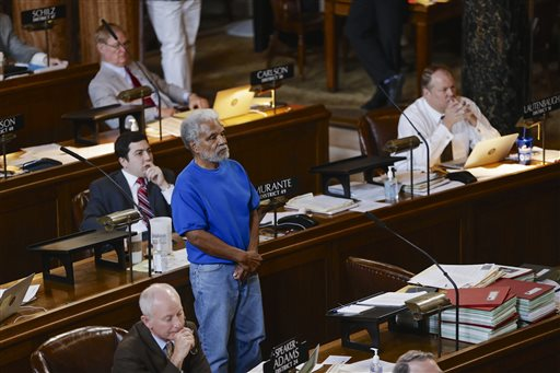 Ernie Chambers, Nebraska state senator, stands during debate to repeal the death penalty in Nebraska (AP Photo).