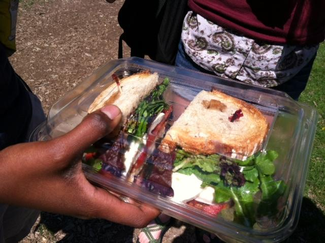 Senior+Leah+Awkward-Rich+holds+out+a+mozzarella%2C+tomato%2C+and+lettuce+sandwich+purchased+from+Sparrow+for+%244.