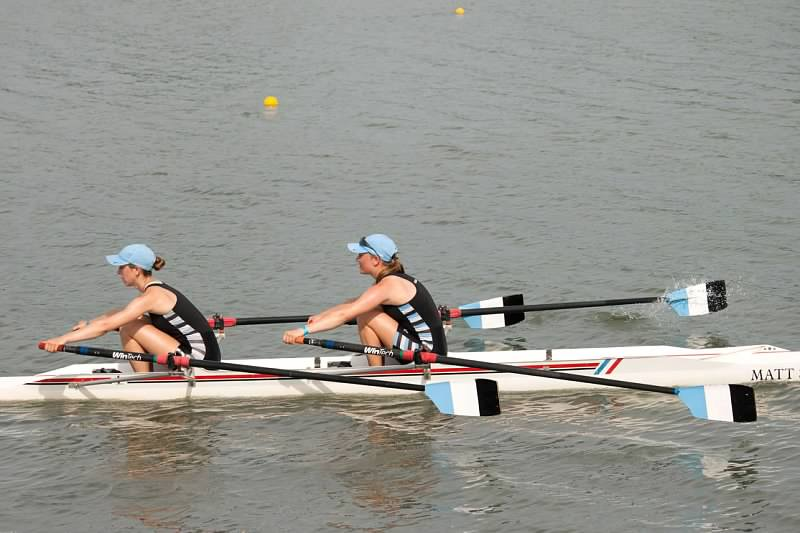Ella Bourland and her boat mate Lindsay Davis-Brady participating in a recent regatta.