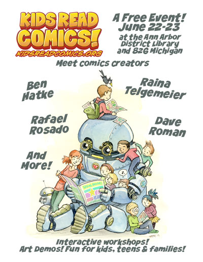 The Kids Read Comics poster for 2013, with art by featured artist Ben Hatke.