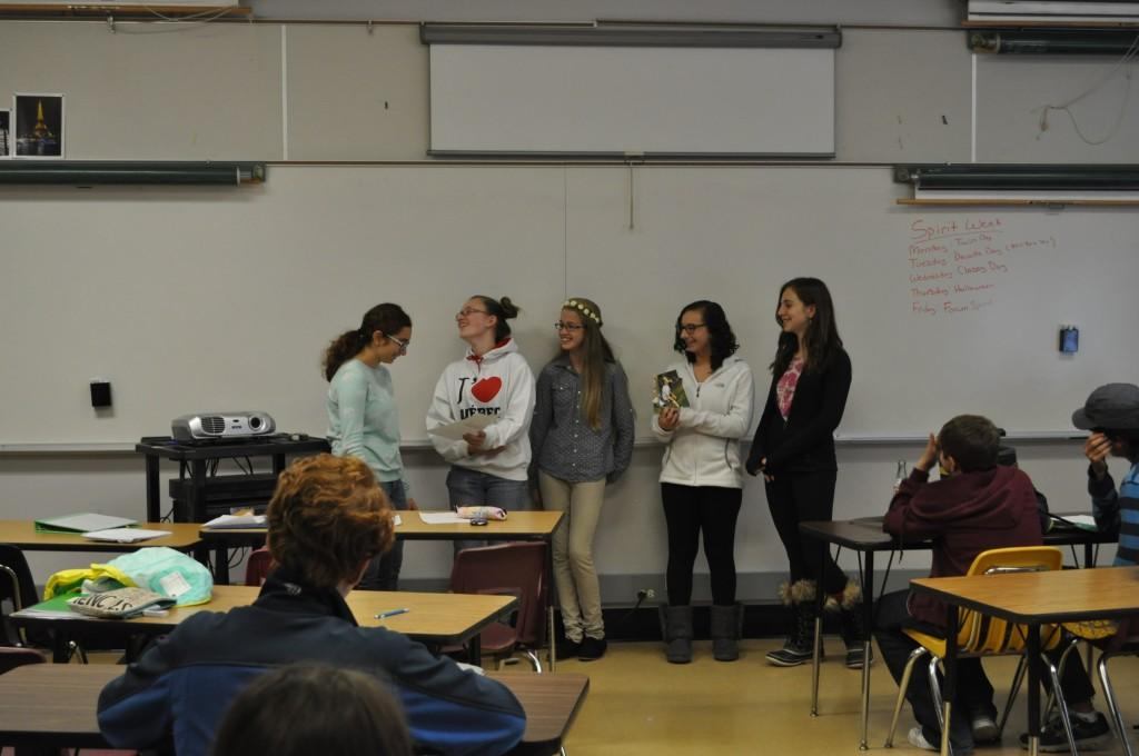 Danelle Moshers French II class gives presentations for their projects. This group speaks in French on soccer.
