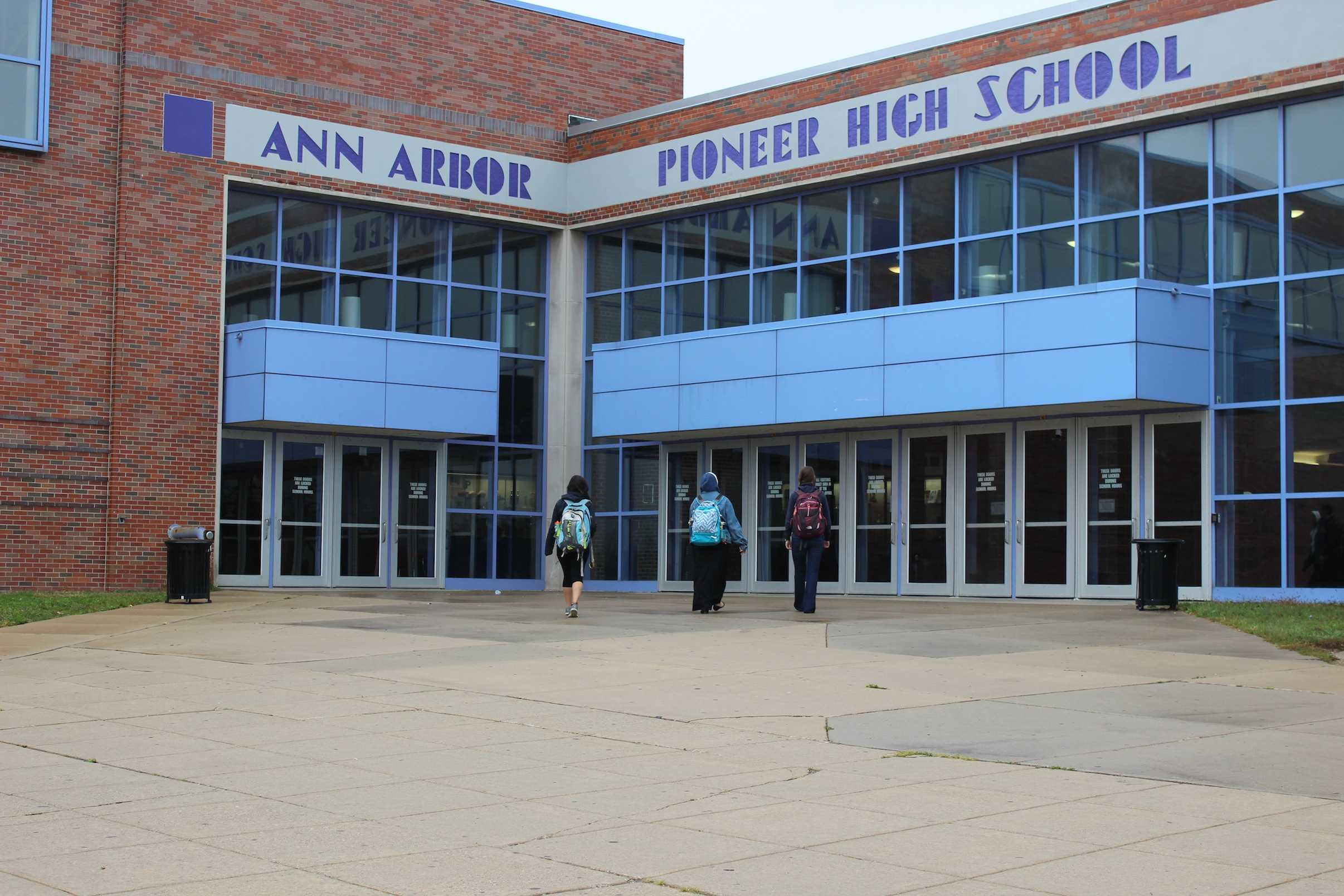 Community High students enter Pioneer to take classes there.