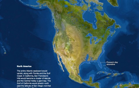 North America could look like this in the future if sea levels keep rising. (From National Geographic)