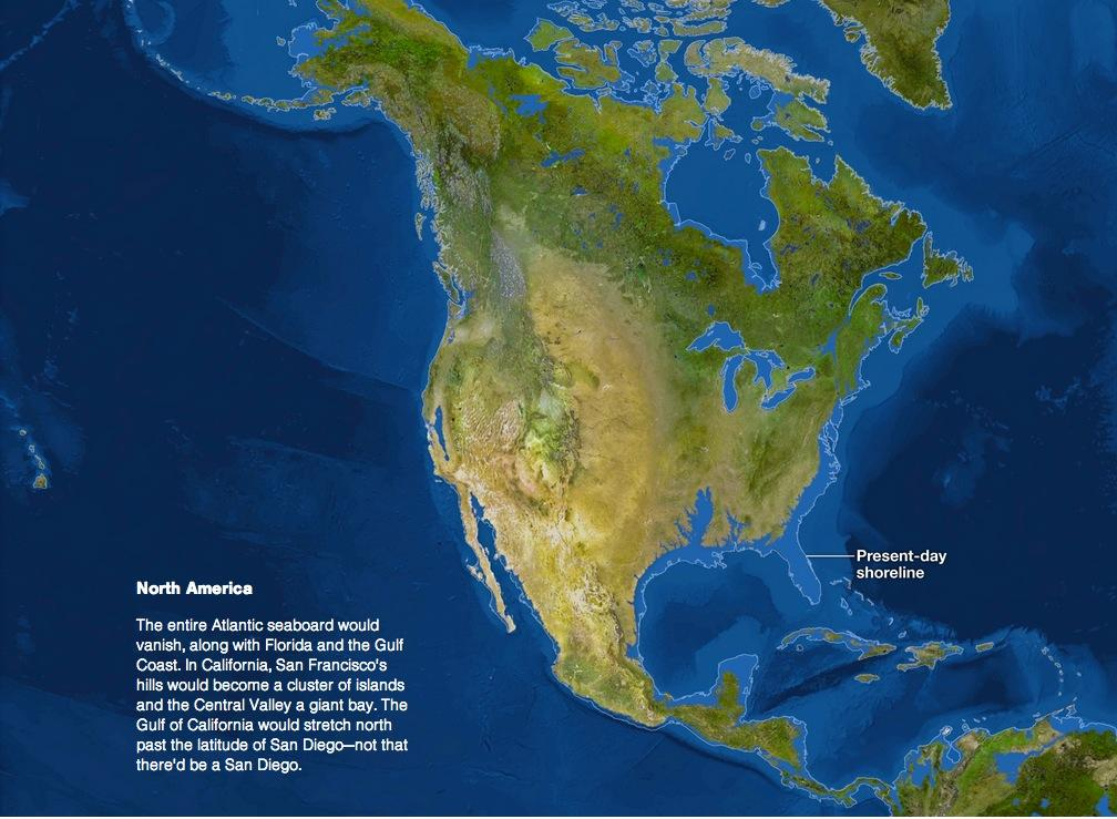 North+America+could+look+like+this+in+the+future+if+sea+levels+keep+rising.+%28From+National+Geographic%29