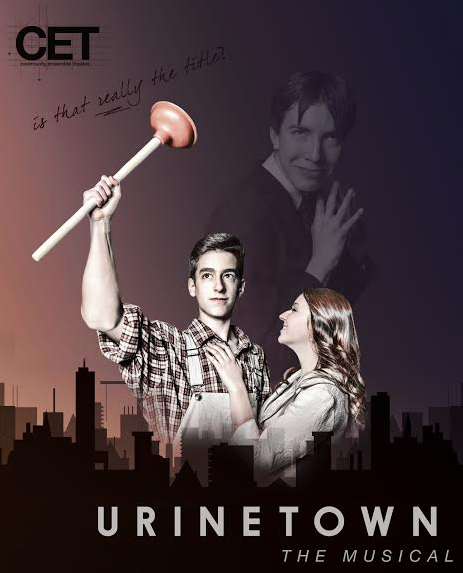 The URINETOWN poster, depicting hero Bobby Strong (Isaac Scobey-Thal, left), ingenue Hope Cladwell (Hannah Hesseltine, right), and corporate villain Caldwell B. Cladwell (Milo Tucker-Meyer, right-center).