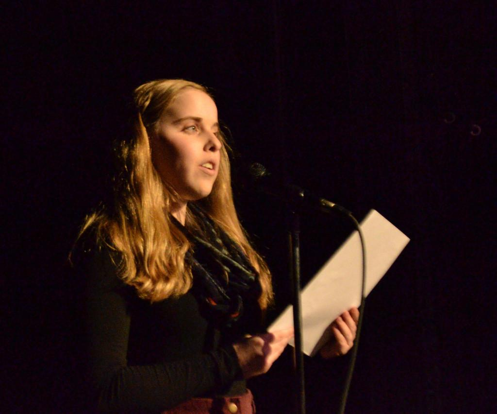 Abby+Lauer+reads+at+the+first+round+of+the+CHS+Poetry+Slam