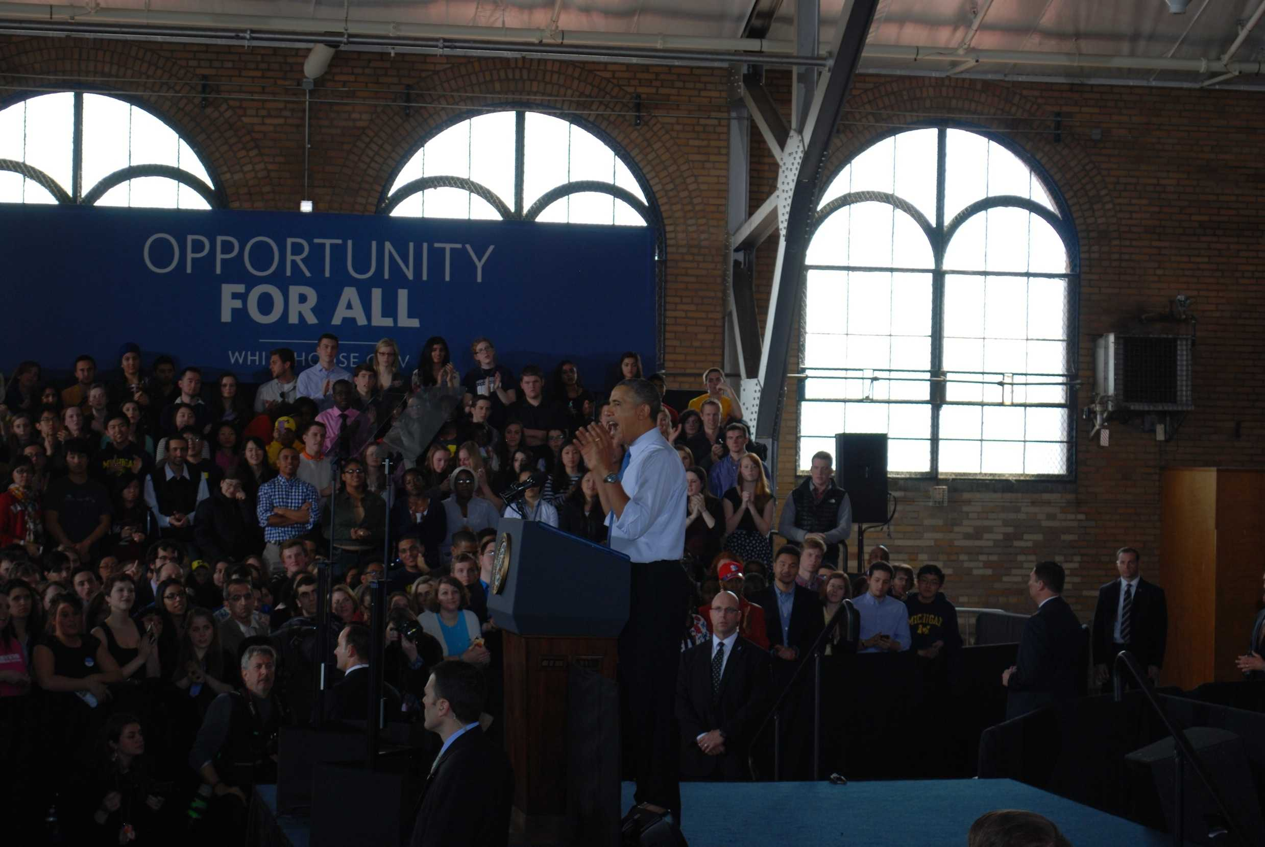 President Obama delivering his speech in the Intramural building.