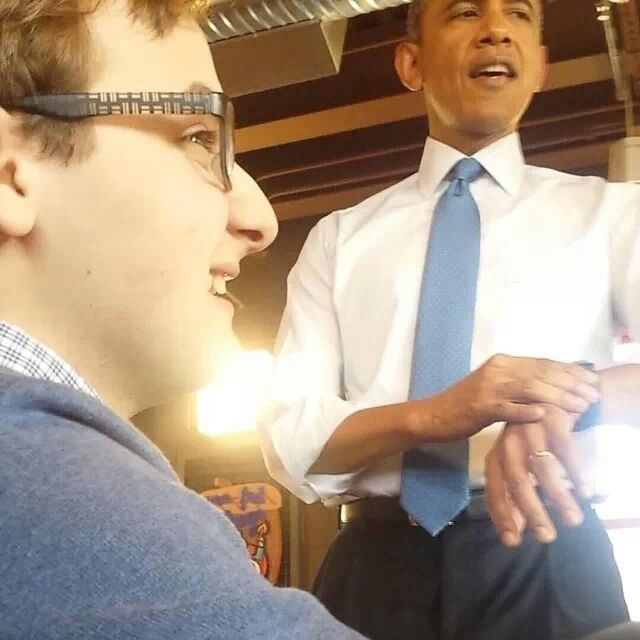 Oren Steiner, CHS Senior, caught a candid-looking picture with the Commander In Chief as he checked the time.