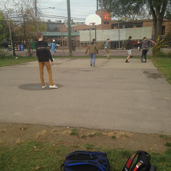 Students at Community playing S Ball at lunch