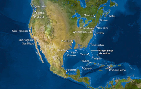 Map of possible sea levels. From National Geographic