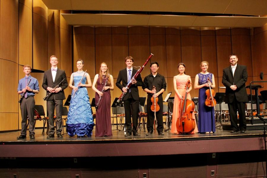The concerto finalists (from left to right) Alex Maynard, Griffin Roy, Ellen Sauer, Marianne Cowherd, Trevor King, Michael Lee, Lydia Jang, Alexis Berry and Jonathan Glawe.