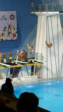 The Mexican team of Rommel Pacheco and Jahir Ocampo practice before the start of the Men's 3m Springboard competition.