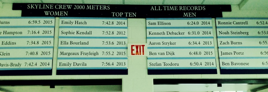 Skyline Crew Records Board sits above doors near Skyline Commons where rowers will erg during November through March.