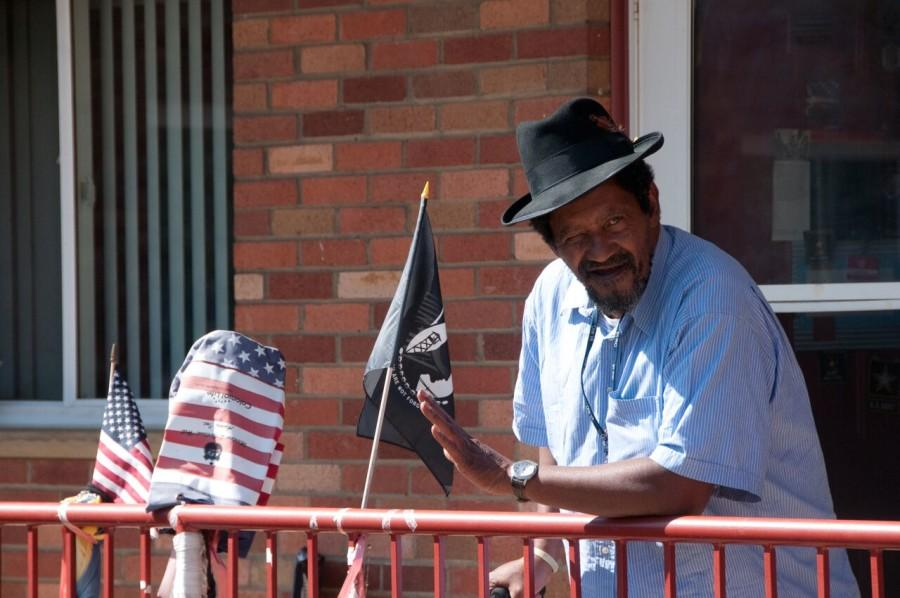 Earl, one of the many veteran tenants at Avalon Housing, outside of his unit.