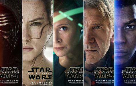 Character posters for the film. From left to right, Kylo Ren, Rey, General Leia Organa, Han Solo and Finn.