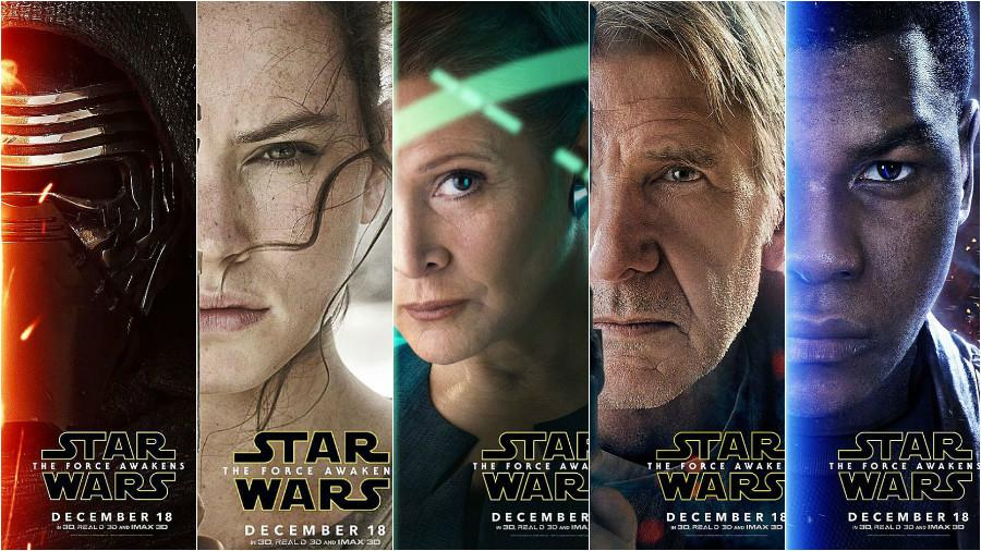 Character+posters+for+the+film.+From+left+to+right%2C+Kylo+Ren%2C+Rey%2C+General+Leia+Organa%2C+Han+Solo+and+Finn.