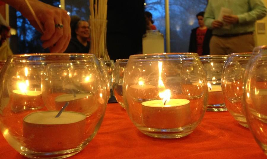 """The scene at the Interfaith Community Vigil. """"That there are not a lot of people who are willing to take them on, and I'm not a shrinking violet, and I'm willing to stand up for what I believe in,"""" State Senator Rebekah Warren said on the issues that surround gun violence."""