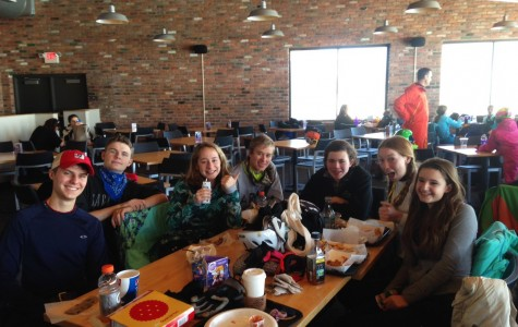 CHS Ski Club warms up inside of the lodge at Mt. Brighton on Jan. 29, 2015 on their day off at the end finals week.