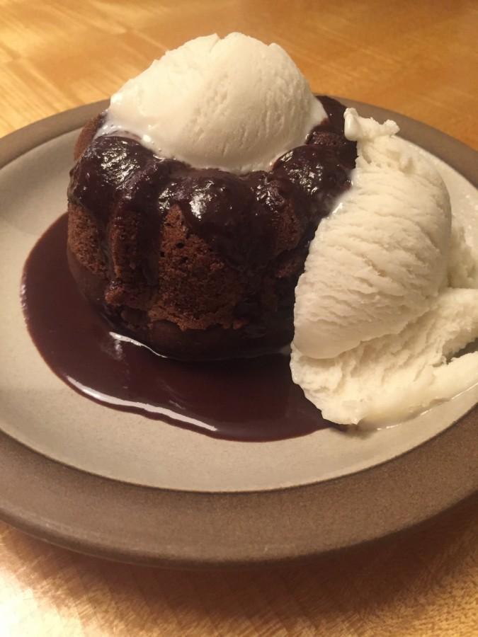 Mini+bundt+cake+served+with+vanilla+soymilk+ice+cream.