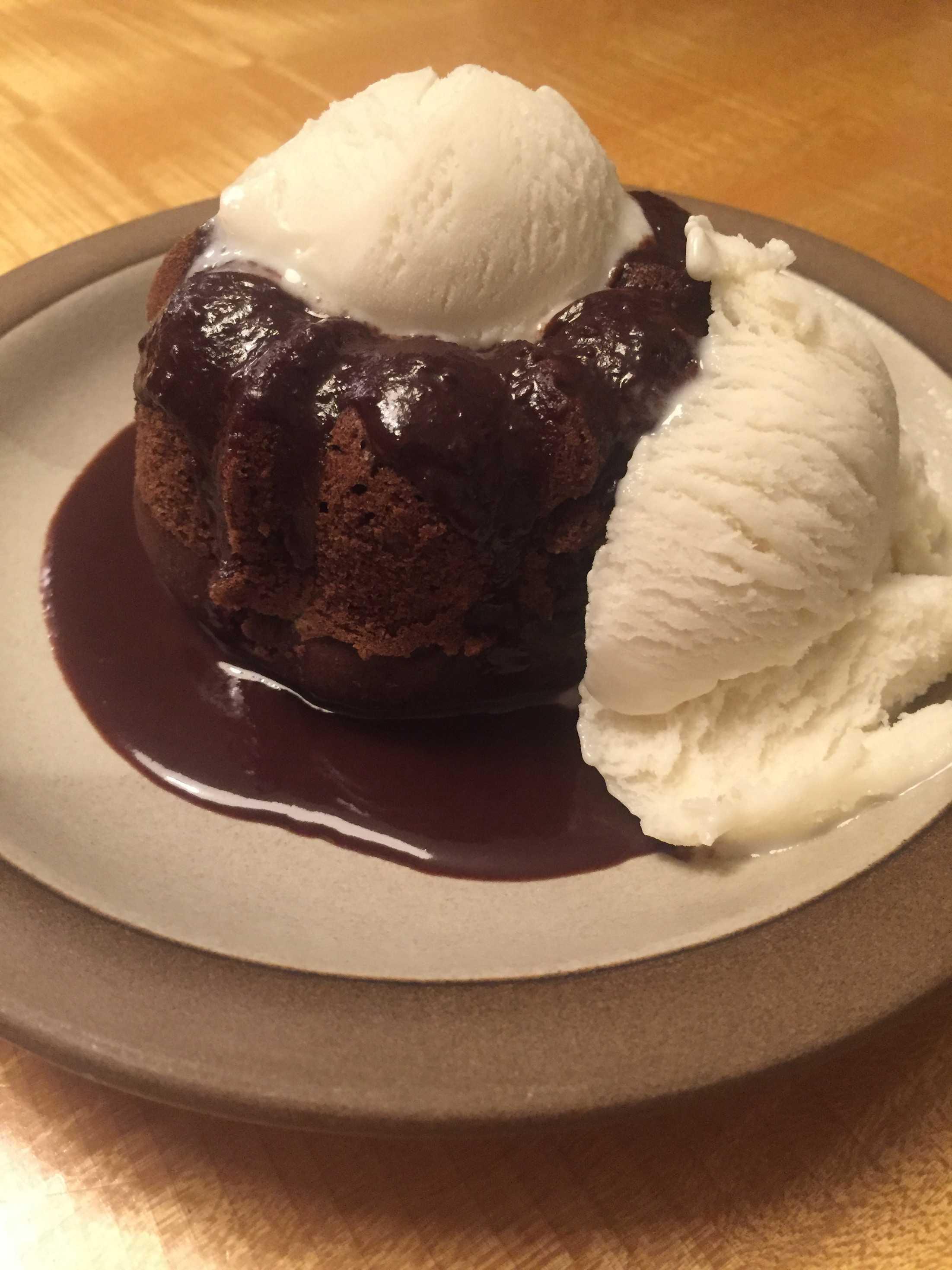 Mini bundt cake served with vanilla soymilk ice cream.