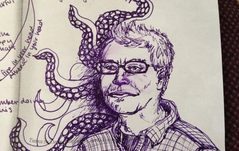 Scott Beal as depicted by Eleanor Quist Costello Olson. Beal has written a chapbook of poems from the point of view of an octopus.